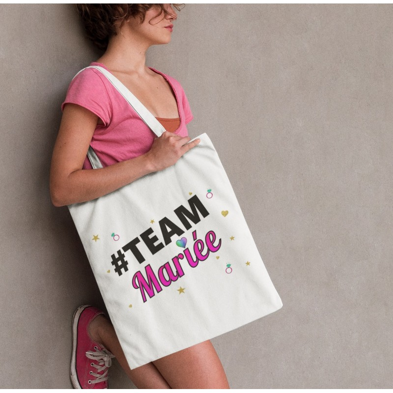 Tote bag sac EVJF : #TeamMariée