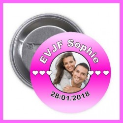 Badge /Pins rose photo EVJF pas cher