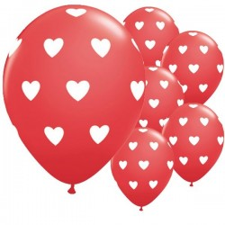 6 Ballons Rouge : coeurs