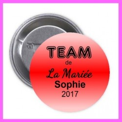 Badge/pins Team EVJF personnalisé rouge
