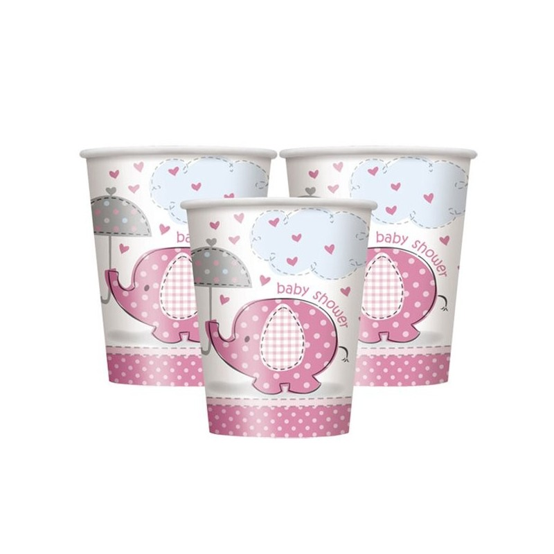 gobelets baby shower éléphant fille rose